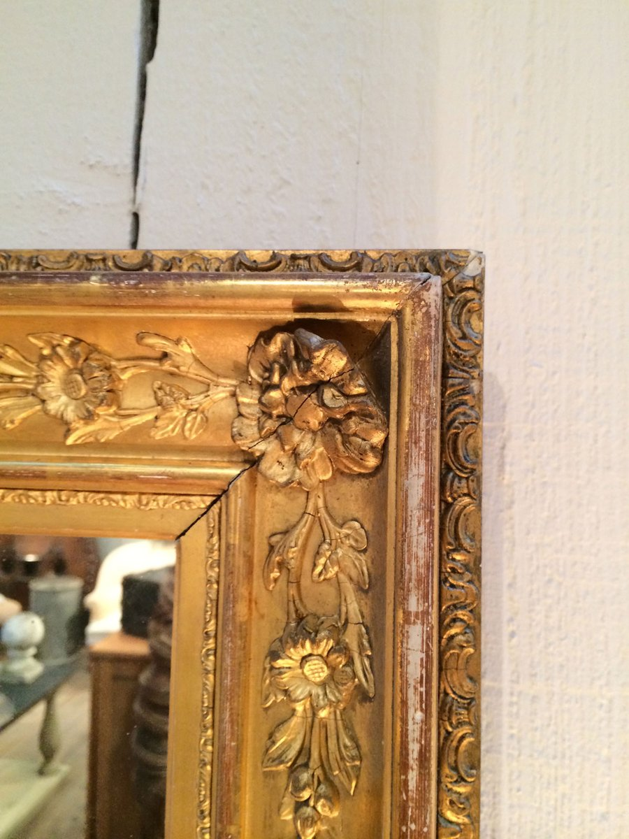 Antique Gild Mirror with Wooden Frame for sale at Pamono