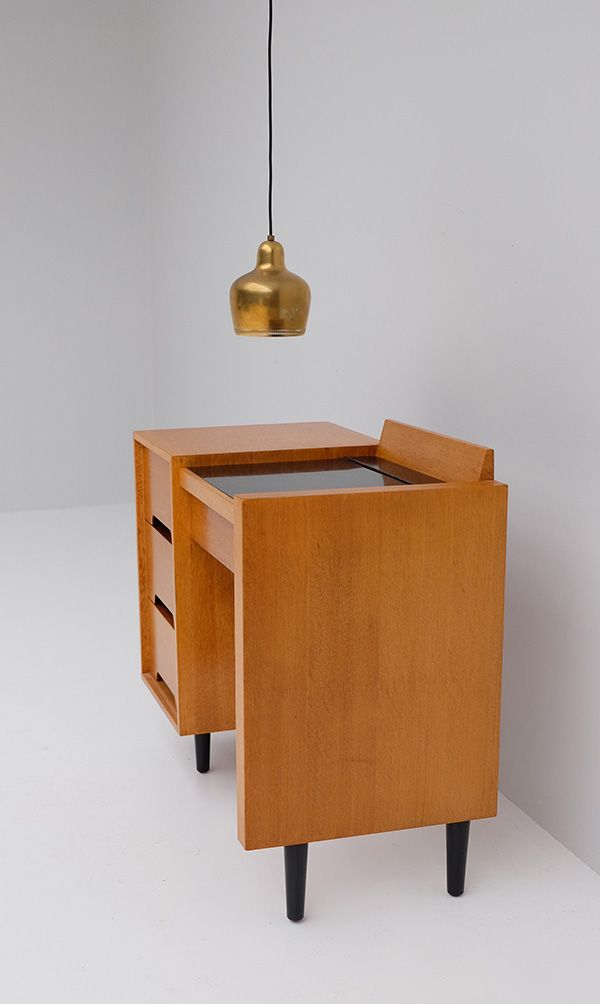 English Modern Vanity Table In Wood With Hinged Mirror For Sale At Pamono