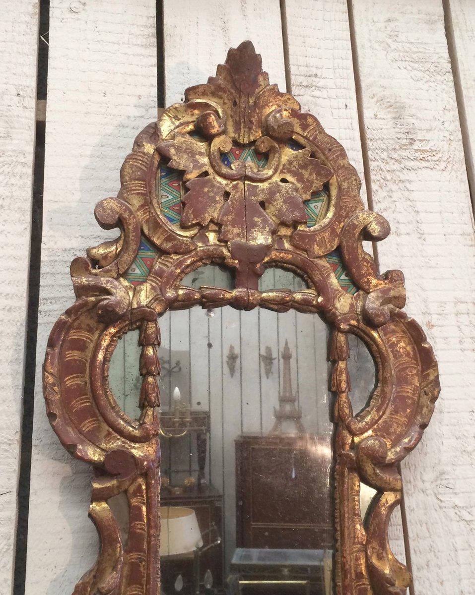 Specchio antico rocaille in legno dorato in vendita su pamono for Specchio rotondo antico