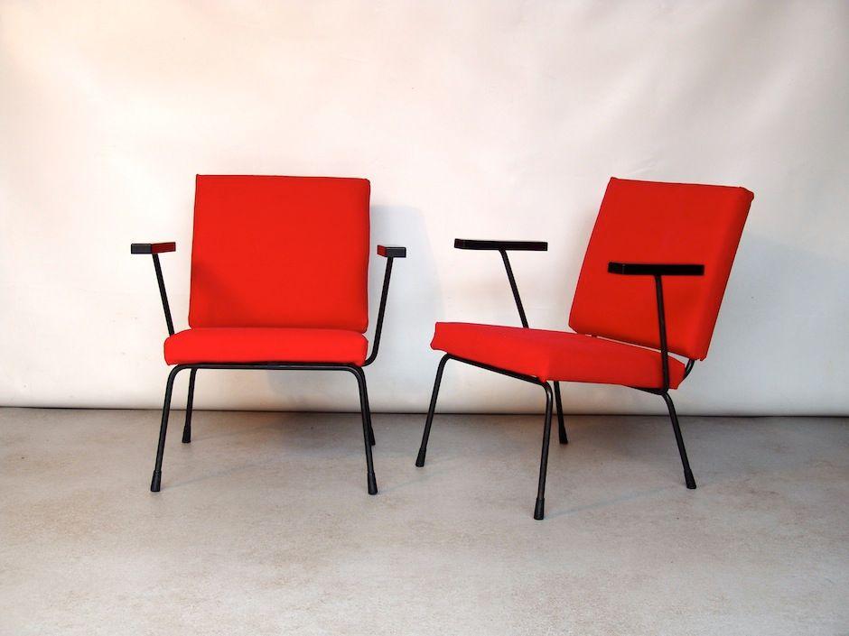 rote mid century wollstoff lounge sessel model 415 1401 von wim rietveld f r gispen netherlands. Black Bedroom Furniture Sets. Home Design Ideas