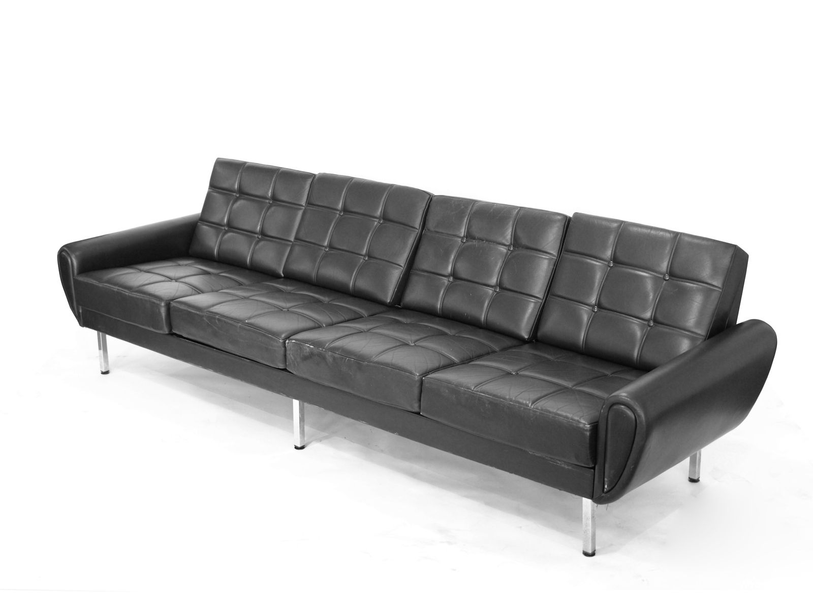Four seater black leather sofa 1970s for sale at pamono for Leather sofa 7 seater