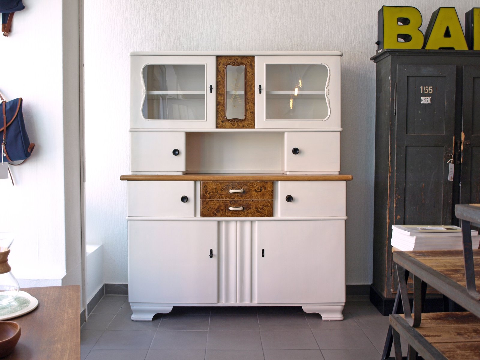 Small German Vintage Kitchen Cabinet In Wood Glass For Sale At Pamono