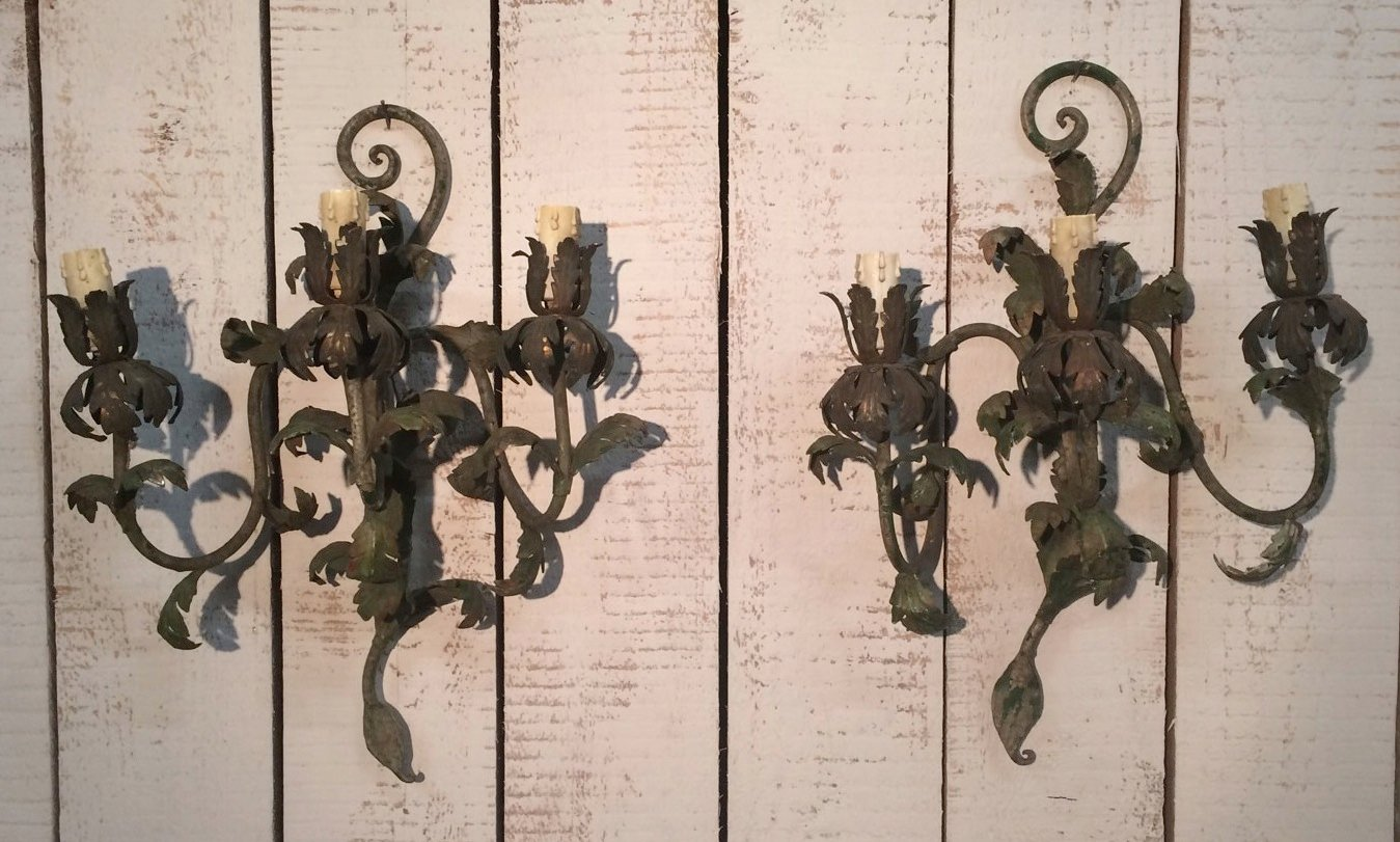 Decorative Painted Metal Wall Sconces, 1940s for sale at Pamono