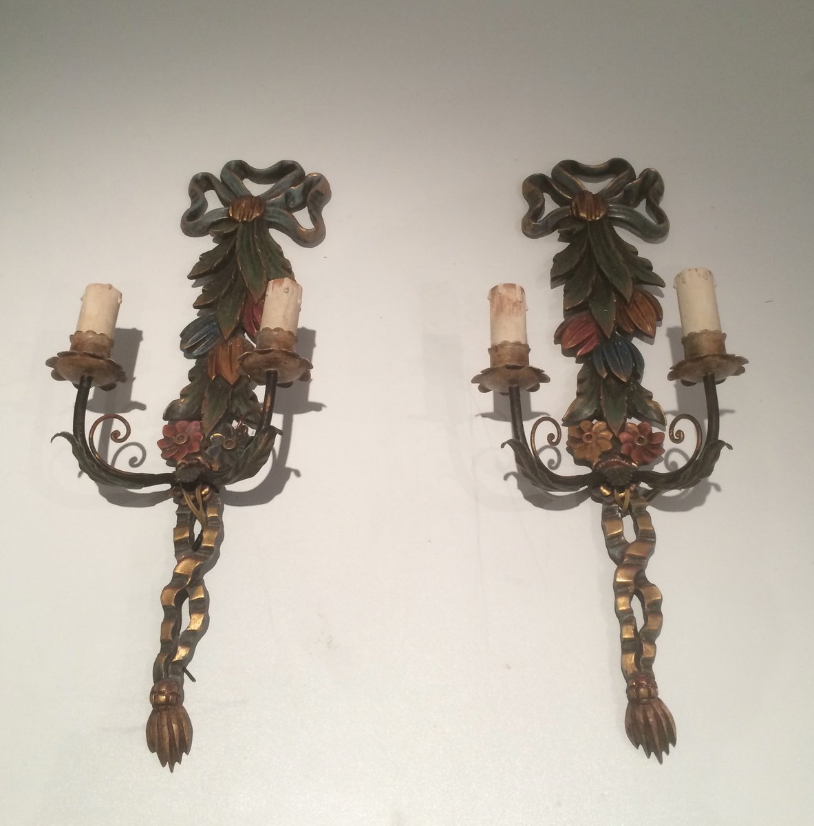 Italian Made Wall Sconces : Italian Wooden Wall Sconces, Set of 2 for sale at Pamono