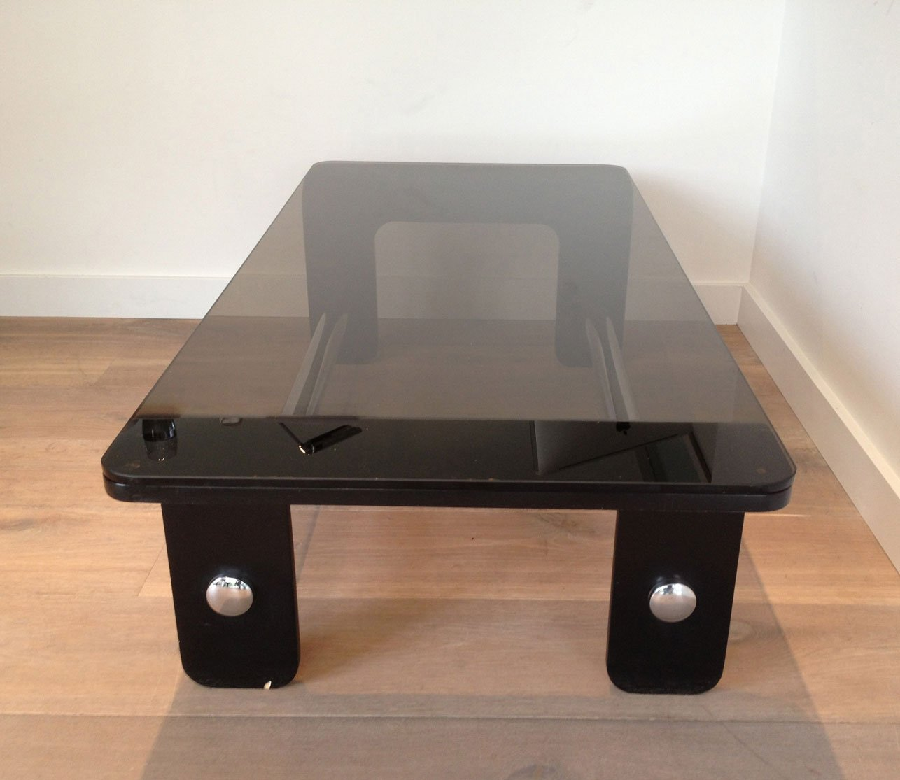 Mid Century Coffee Table In Black Wood, Chrome And Smoked Glass
