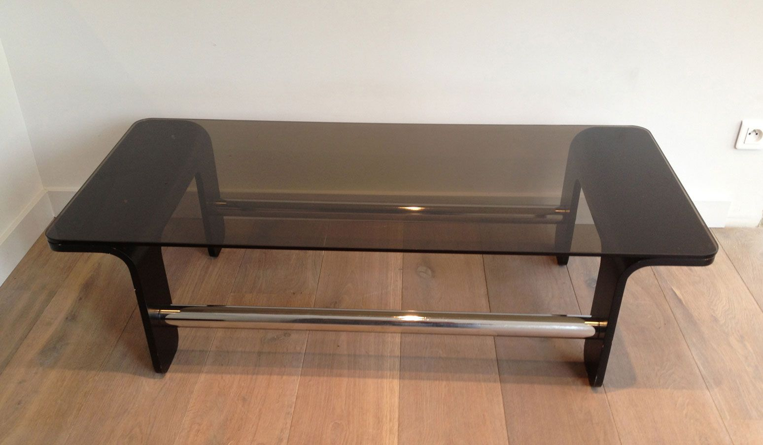 Mid century coffee table in black wood chrome and smoked glass for sale at pamono Black and chrome coffee table