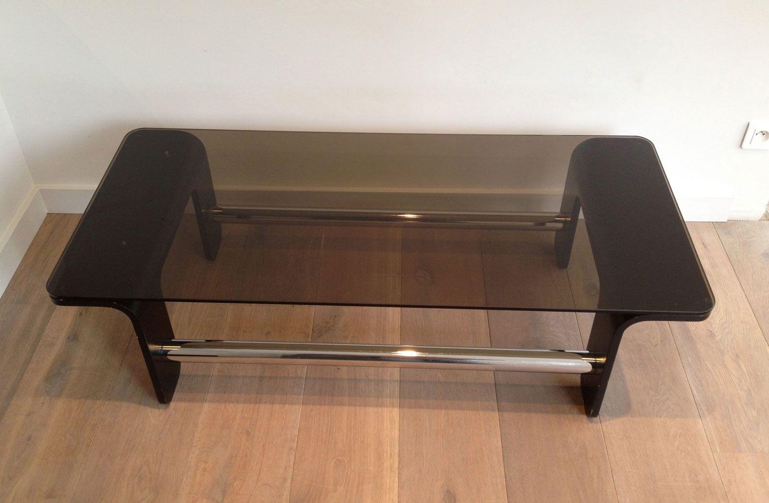 mid century couchtisch aus schwarzem holz chrom und rauchglas bei pamono kaufen. Black Bedroom Furniture Sets. Home Design Ideas