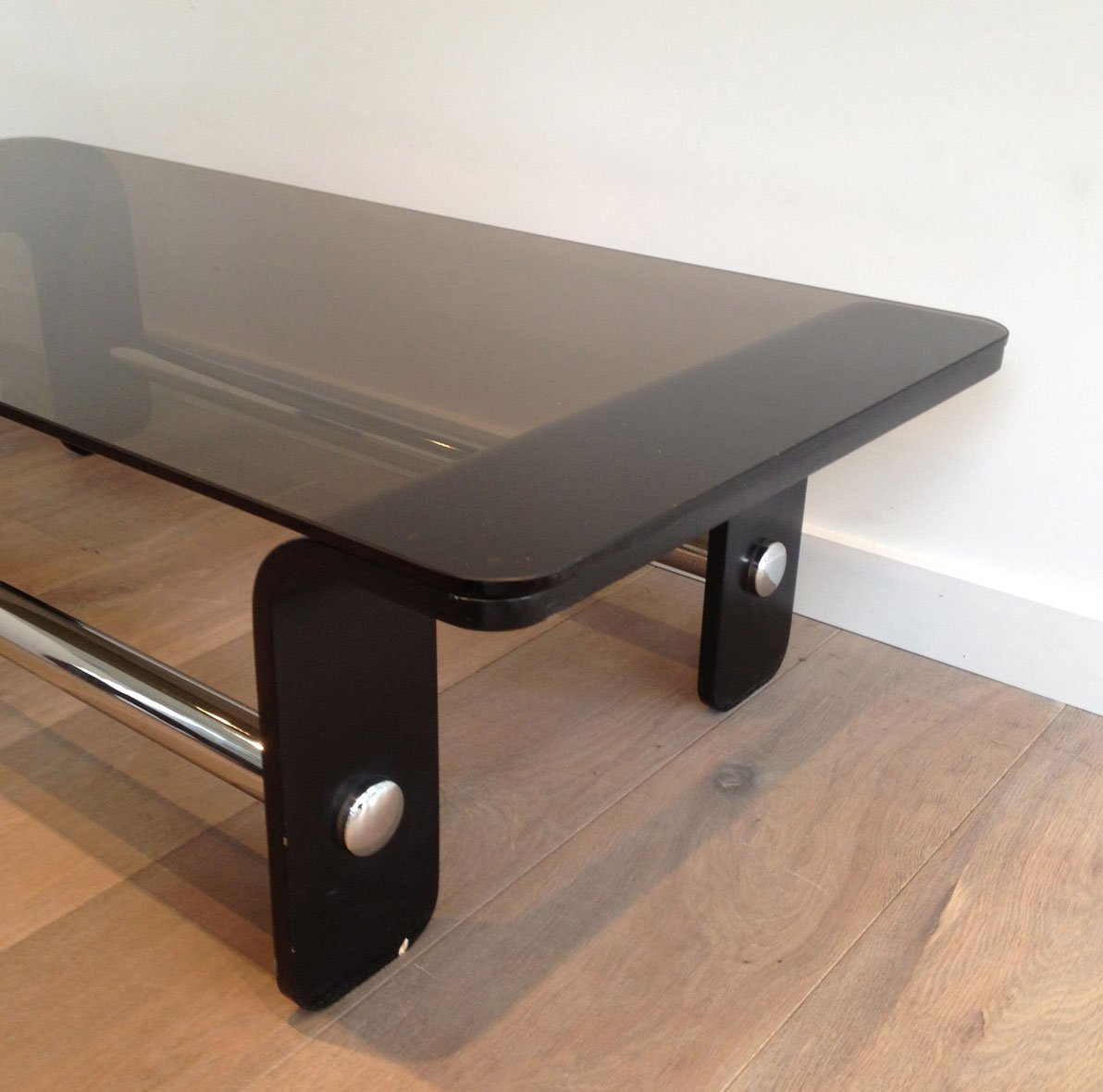 Mid century coffee table in black wood chrome and smoked glass mid century coffee table in black wood chrome and smoked glass geotapseo Gallery