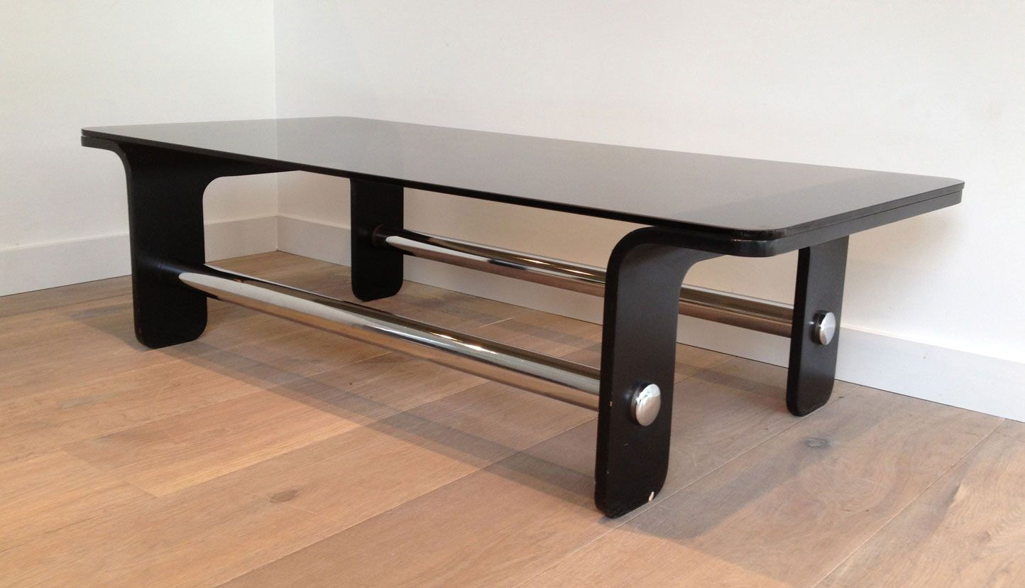 Mid century coffee table in black wood chrome and smoked glass for sale at pamono Black wooden coffee tables