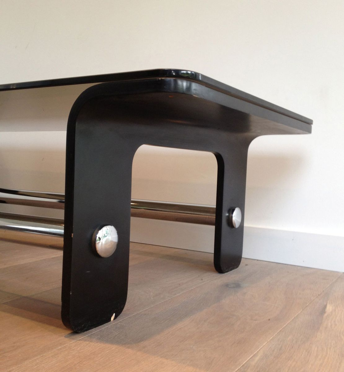 Mid Century Coffee Table Black: Mid Century Coffee Table In Black Wood, Chrome And Smoked