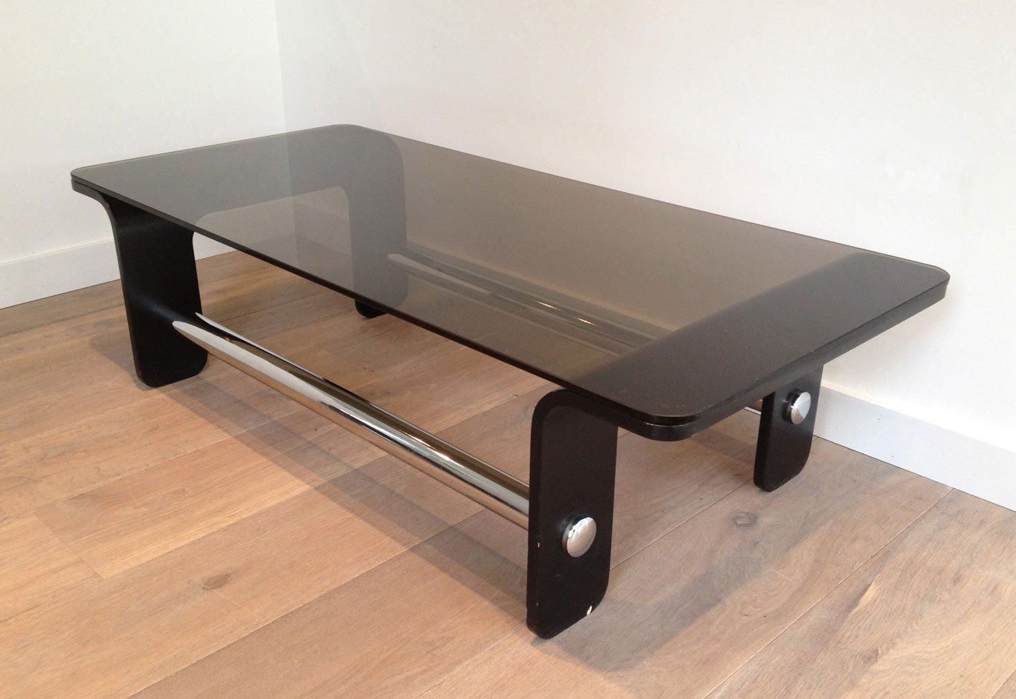 mid century couchtisch aus schwarzem holz chrom und. Black Bedroom Furniture Sets. Home Design Ideas