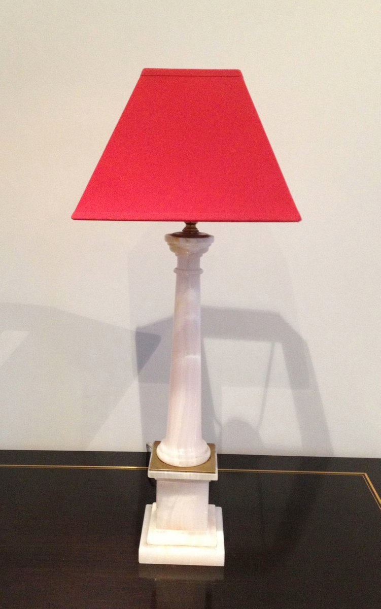 italienische s ulen lampen aus wei em marmor und messing. Black Bedroom Furniture Sets. Home Design Ideas