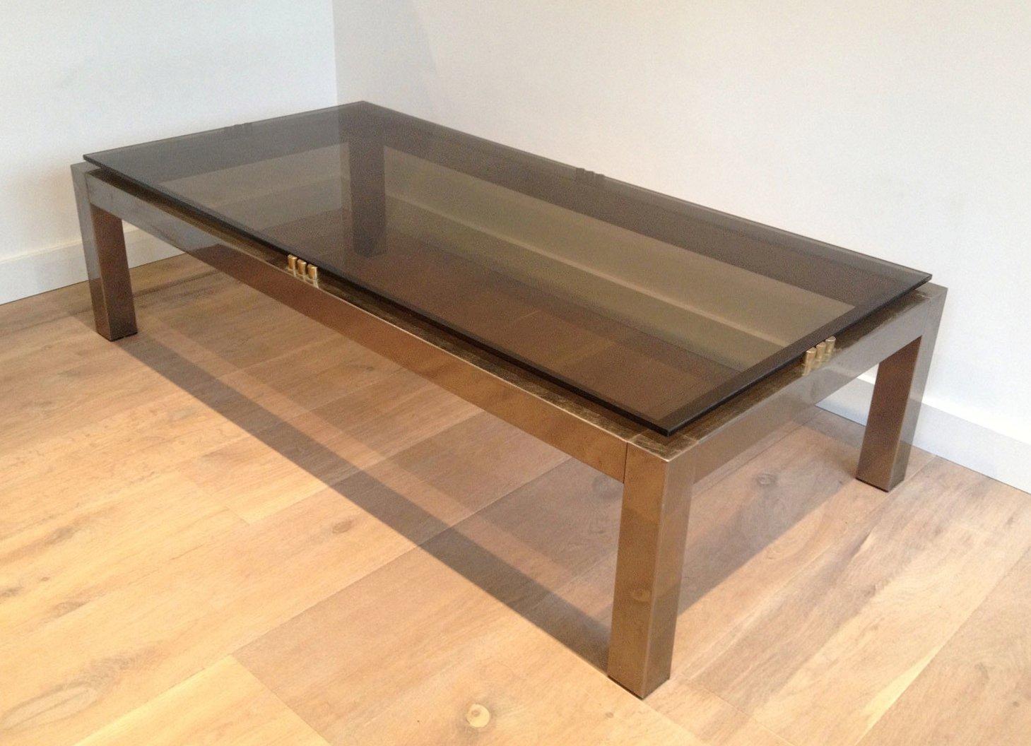 Grande table basse postmoderne m tal bross avec verre - Table basse verre fume ...