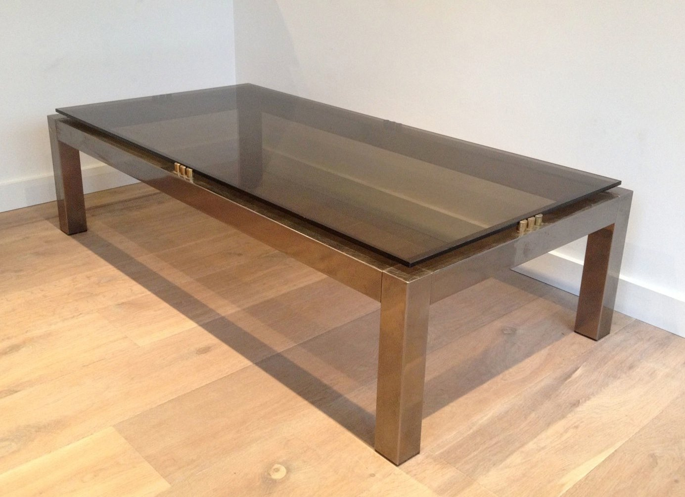 Large postmodern brushed metal coffee table with smoked glass top for sale at pamono Metal glass top coffee table