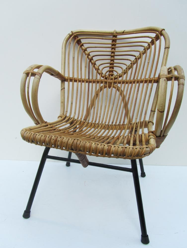 fauteuil en rotin 1960s en vente sur pamono. Black Bedroom Furniture Sets. Home Design Ideas