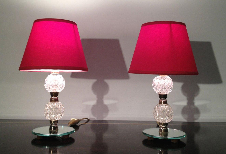 kleine glas und spiegel lampen 1950er 2er set bei pamono kaufen. Black Bedroom Furniture Sets. Home Design Ideas