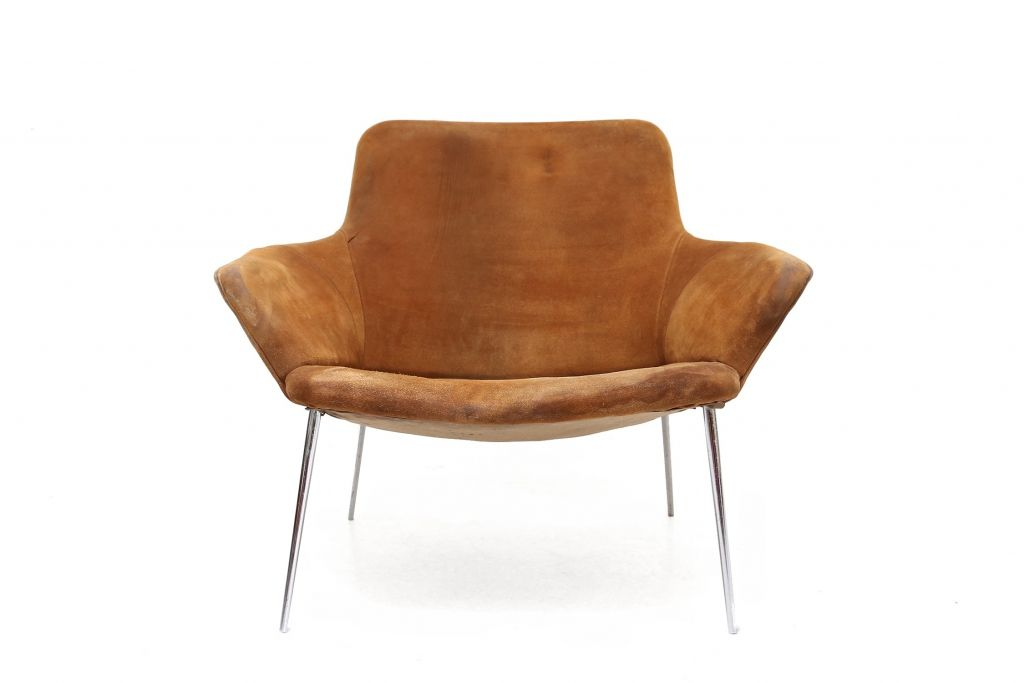 vintage wildleder lounge stuhl bei pamono kaufen. Black Bedroom Furniture Sets. Home Design Ideas