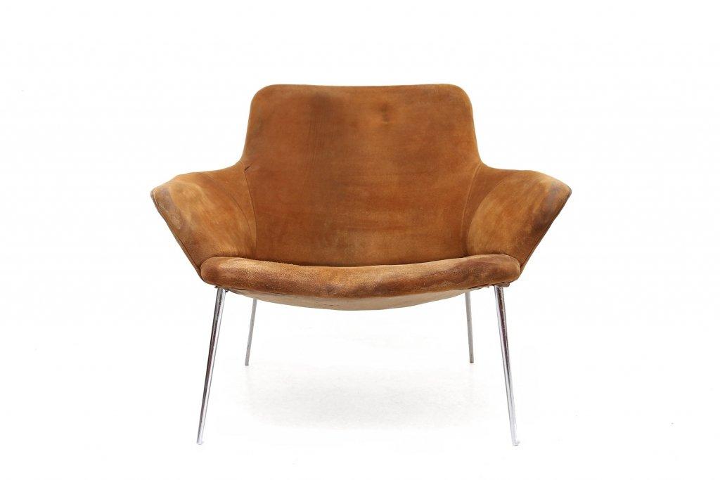 Vintage wildleder lounge stuhl bei pamono kaufen for Stuhl wildleder