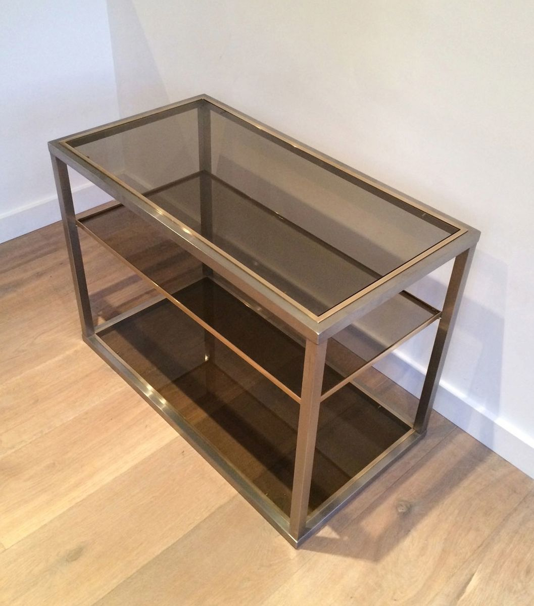 Brushed metal and glass console table 1970s for sale at for Metal and glass console tables