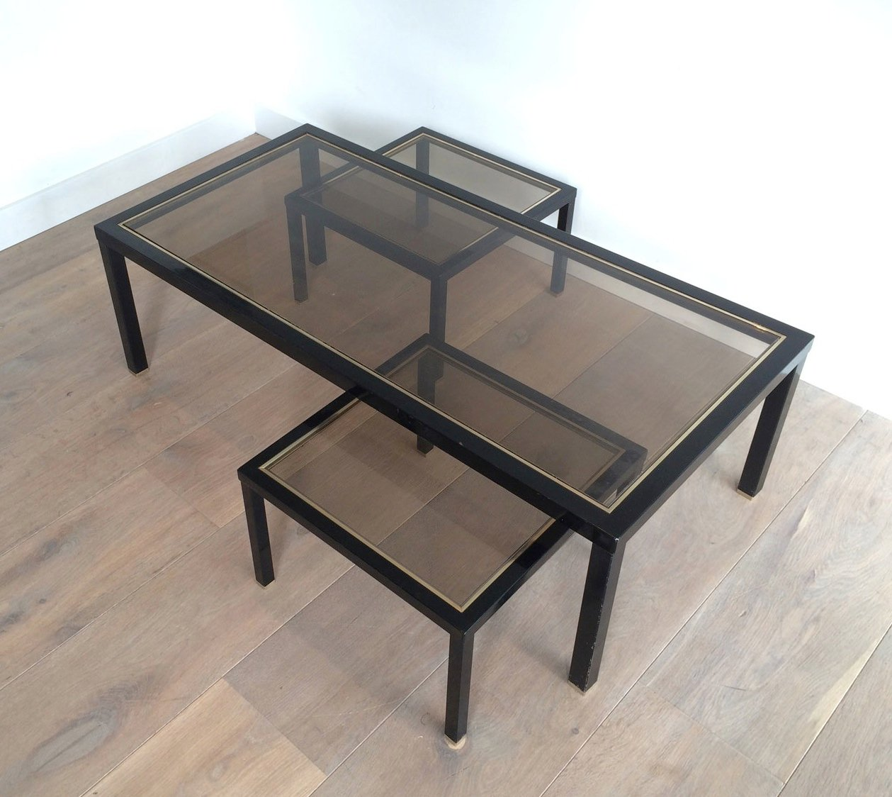 Brass Display Coffee Table: Brass Coffee Table With Pair Of Side Tables, Set Of 3 For
