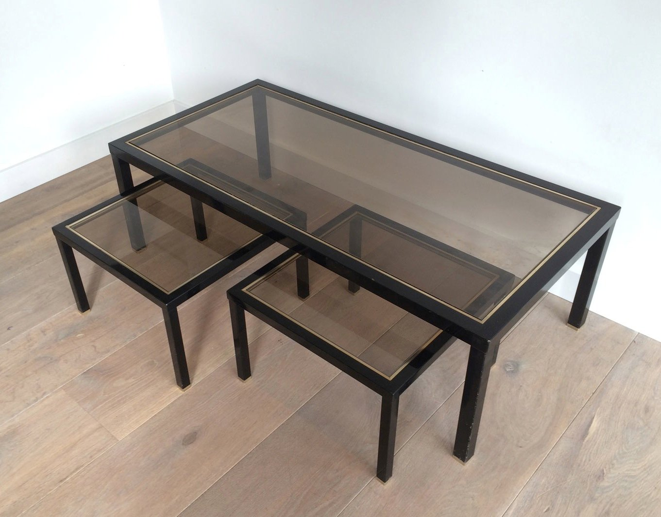 Brass Coffee Table With Pair Of Side Tables Set Of 3 For Sale At Pamono