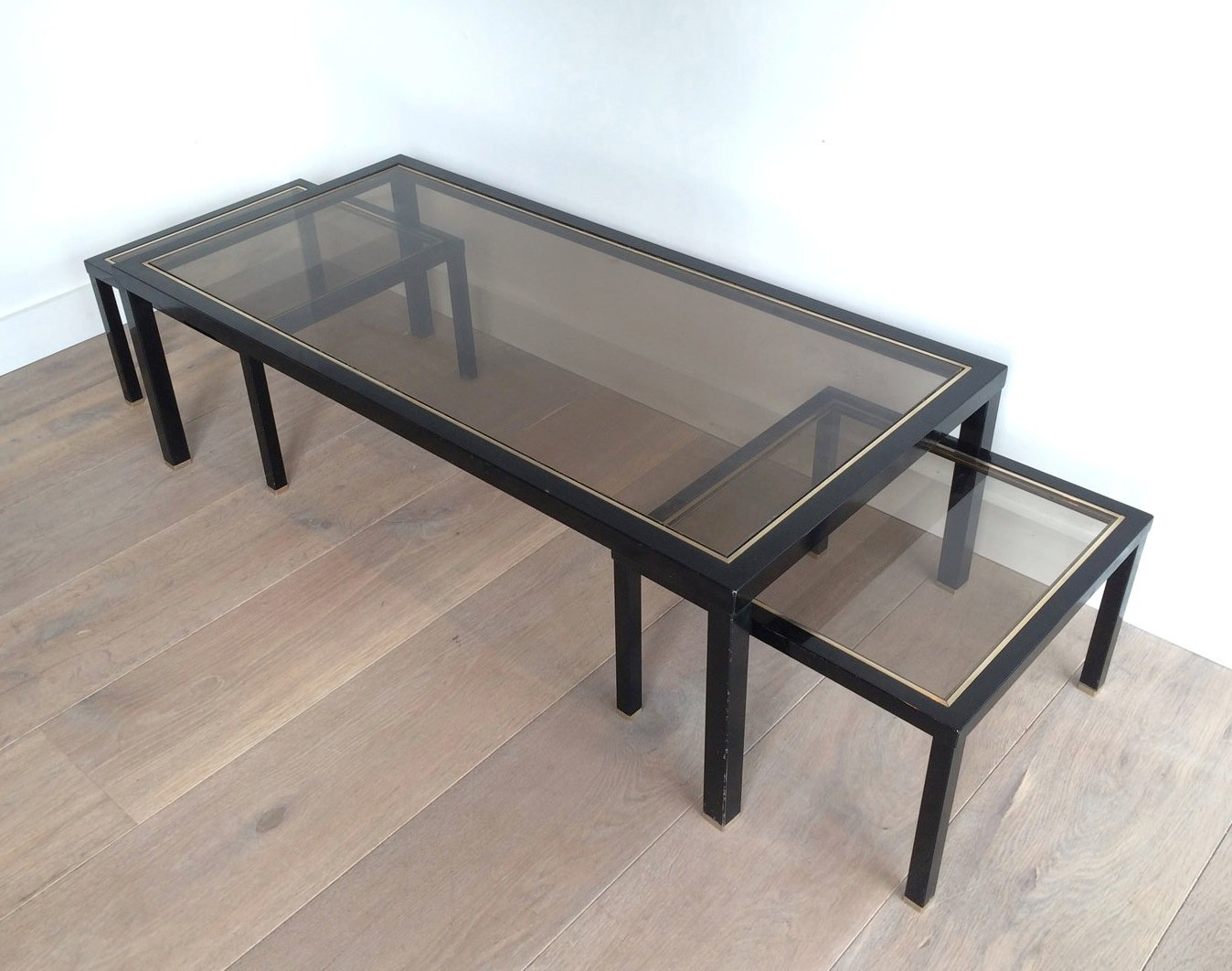 Brass Coffee Table With Pair Of Side Tables Set Of 3