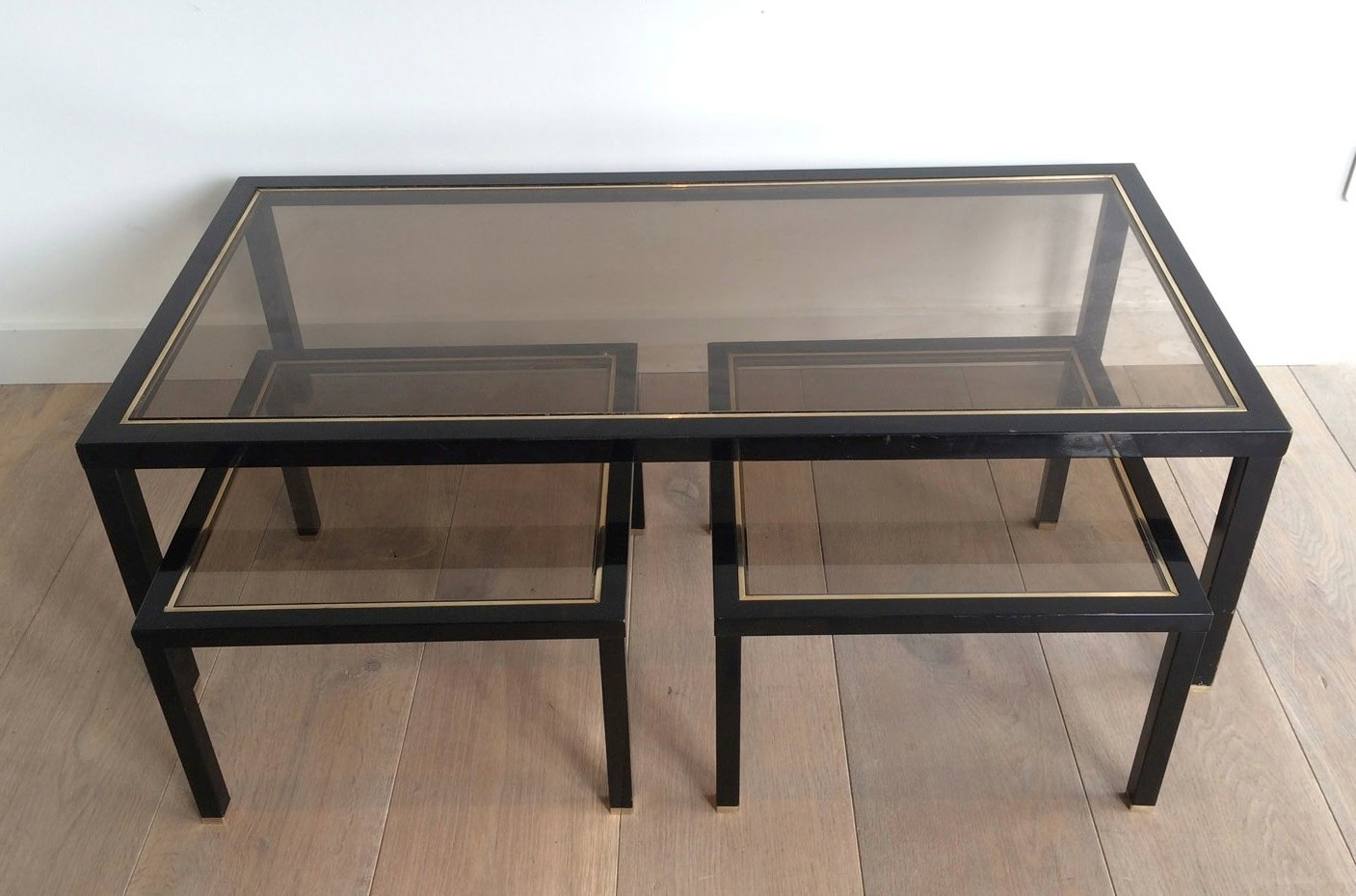 Brass coffee table with pair of side tables set of 3 for sale at pamono Side table and coffee table set