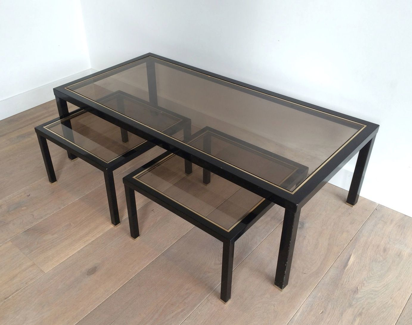Brass coffee table with pair of side tables set of 3 for for Side coffee table set
