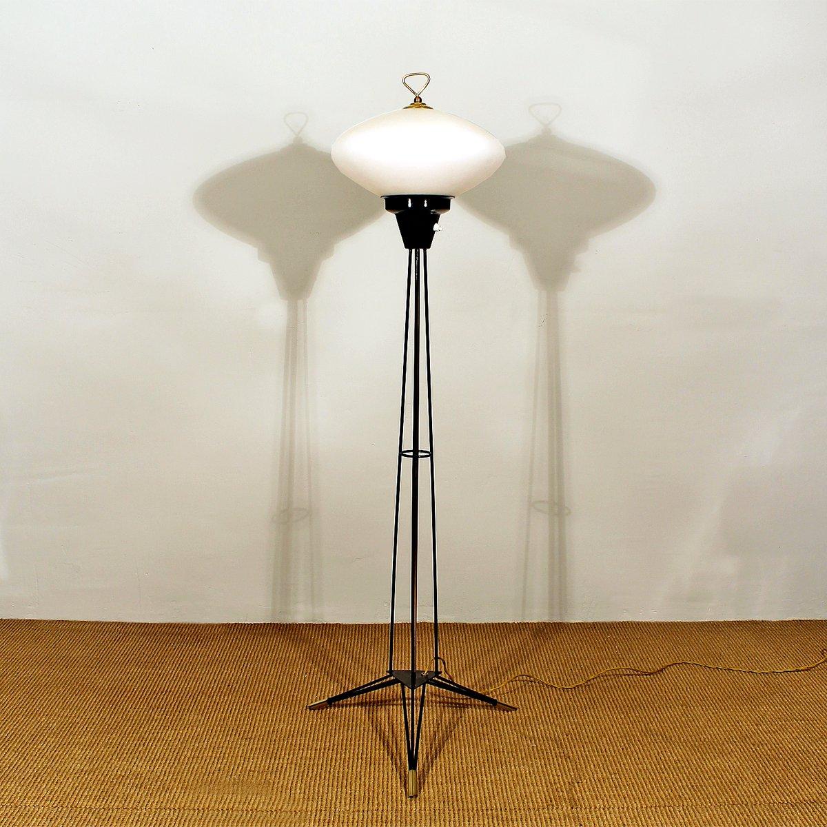 Italian Opaline Tripod Floor Lamp 1960s For Sale At Pamono