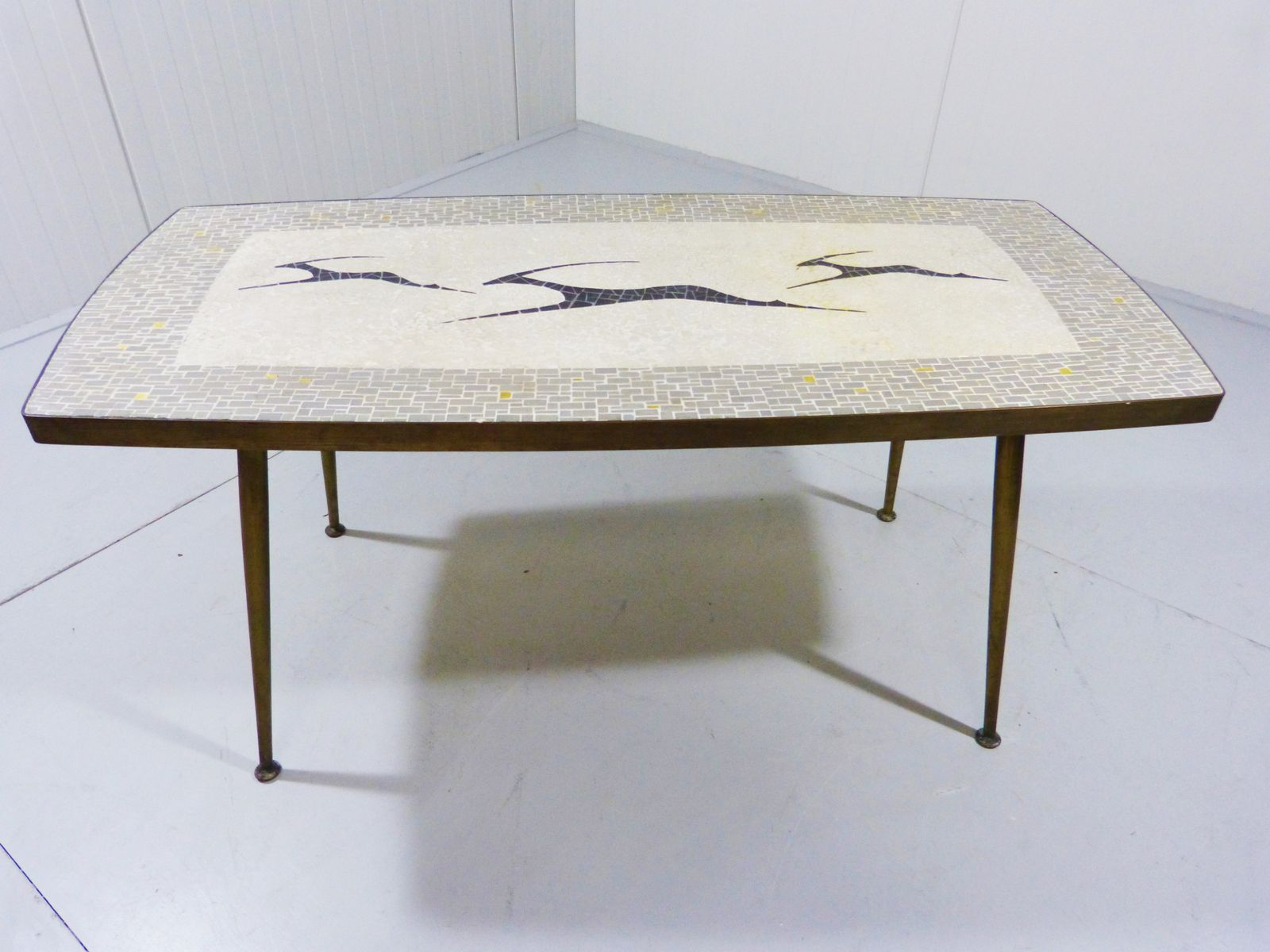 Mosaic coffee table with antelope motifs for sale at pamono for Mosaic coffee table designs