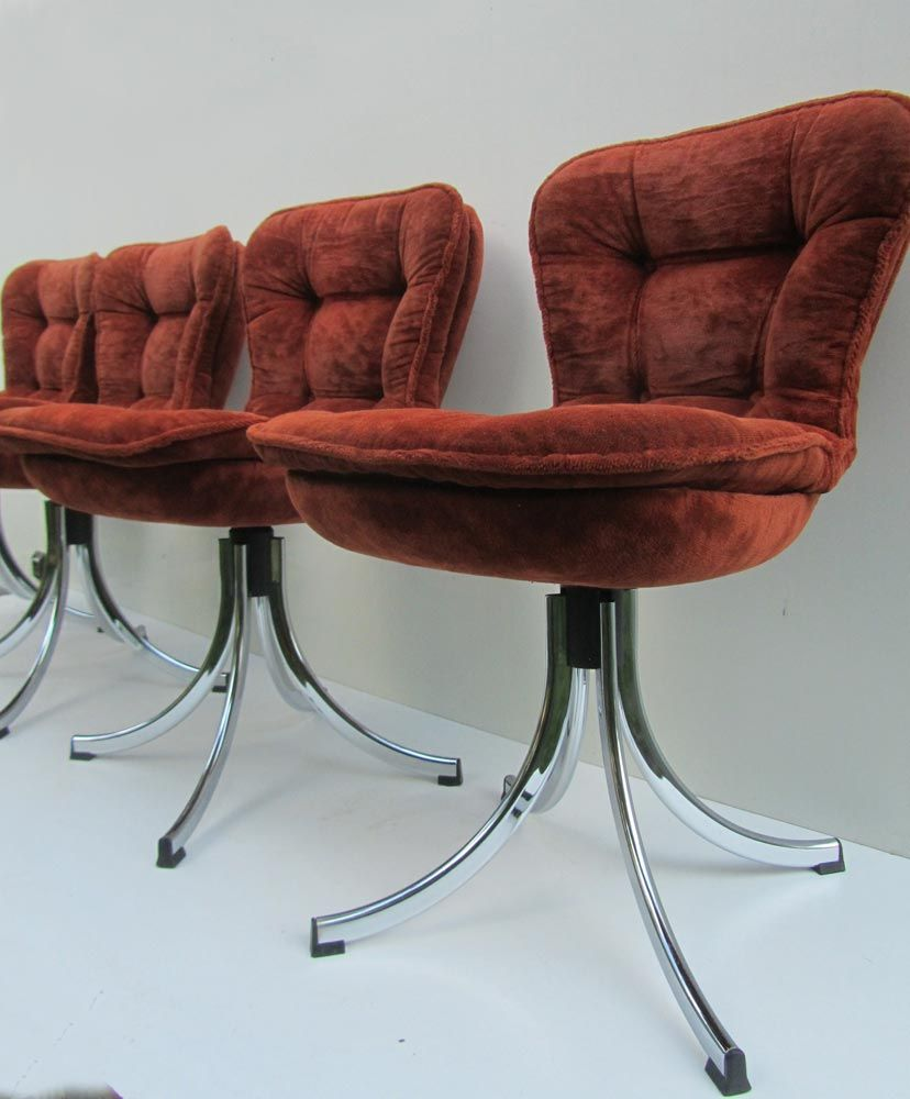 Chrome and velours tufted swivel dining chairs 1970s set for Tufted dining chairs for sale