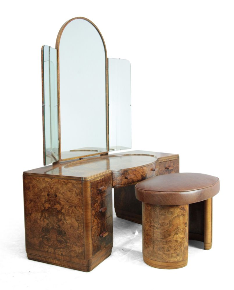 Art deco dressing table and stool 1930s for sale at pamono - Deco dressing ...