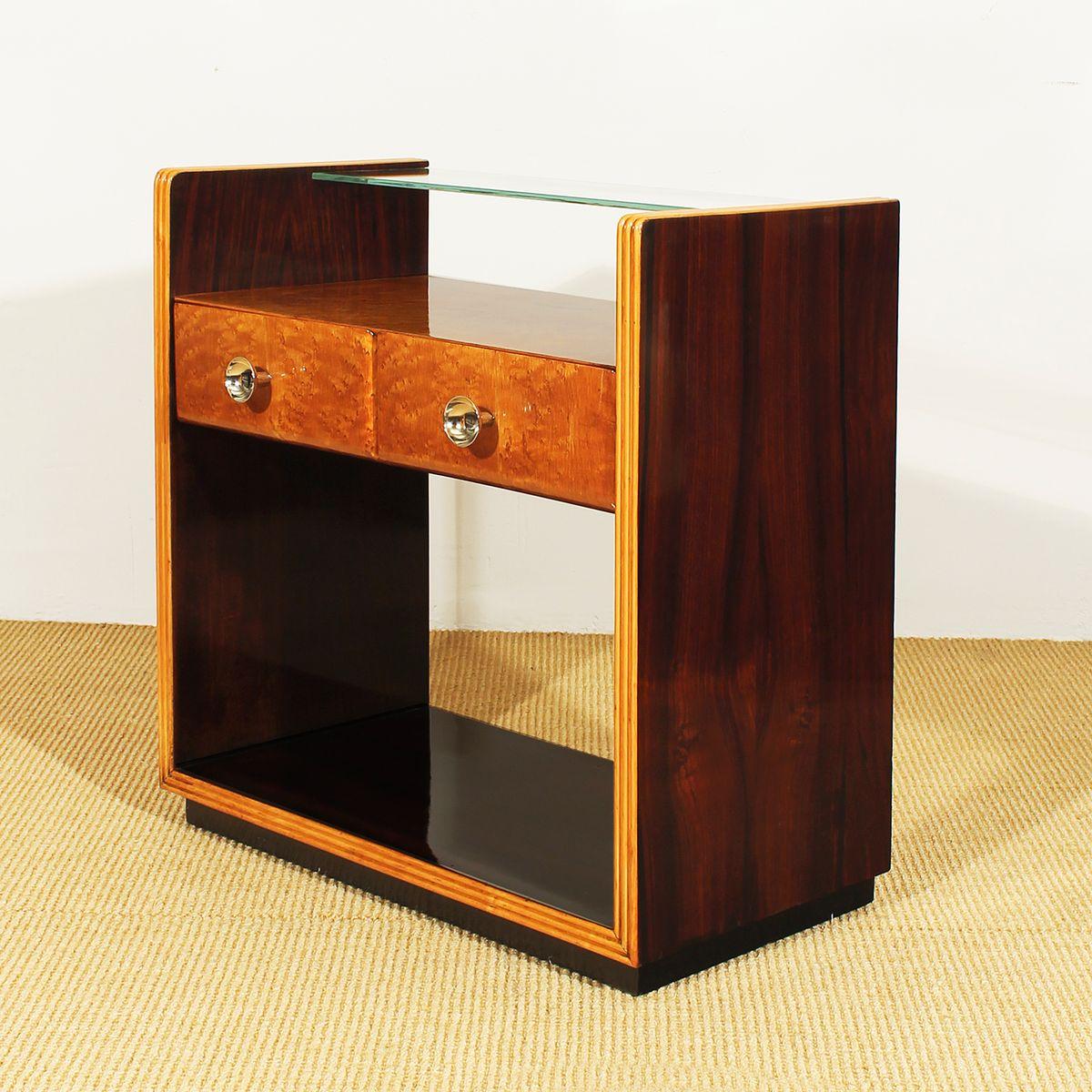 art deco stil nachtschr nke 1930er 2er set bei pamono kaufen. Black Bedroom Furniture Sets. Home Design Ideas