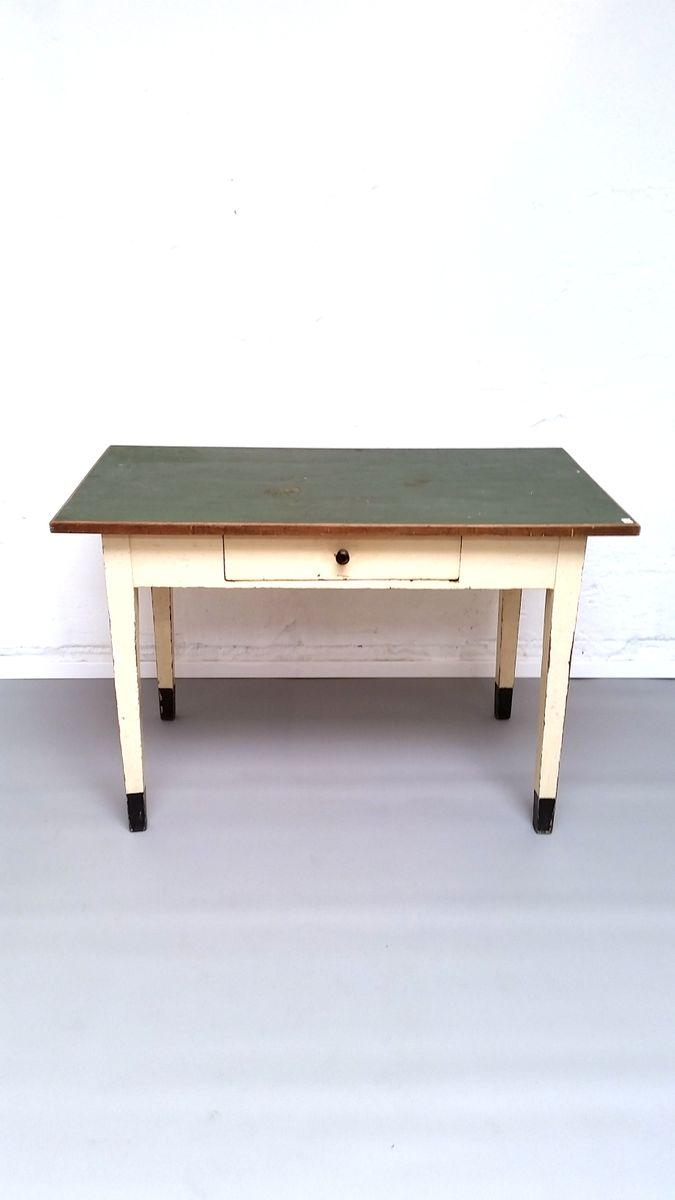 vintage industrial linoleum and wood table for sale at pamono. Black Bedroom Furniture Sets. Home Design Ideas