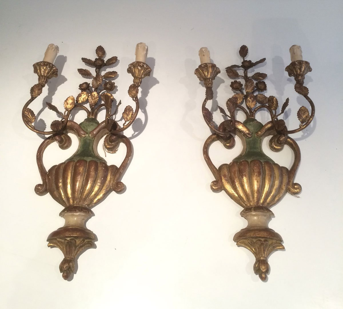 Vintage Gilded Italian Carved Wood Sconces Set Of 2