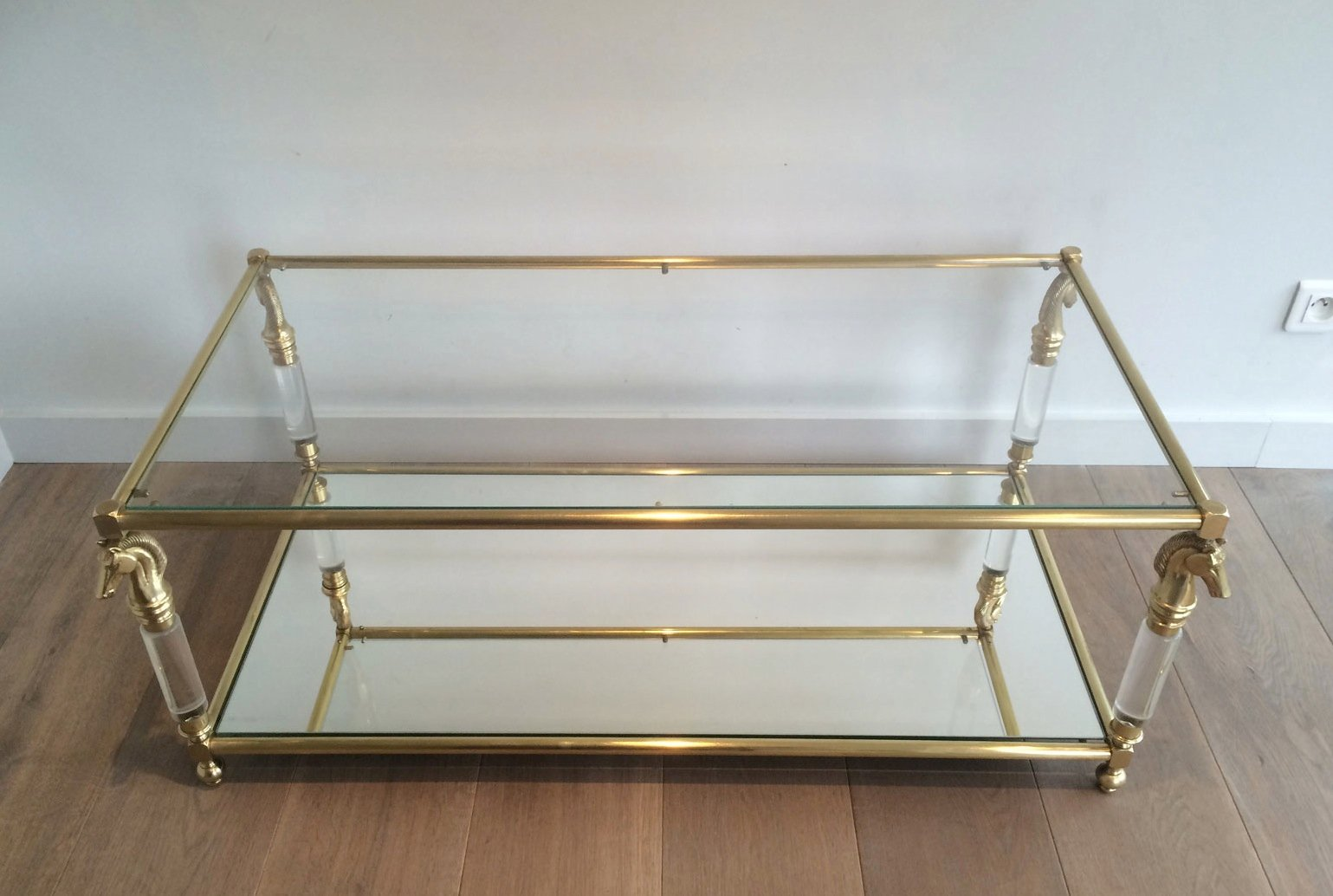 Brass and Lucite Coffee Table with Horse Head Motifs 1960s for
