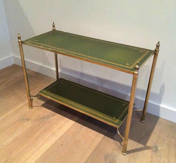 table console petite en laiton et cuir 1940s en vente sur pamono. Black Bedroom Furniture Sets. Home Design Ideas