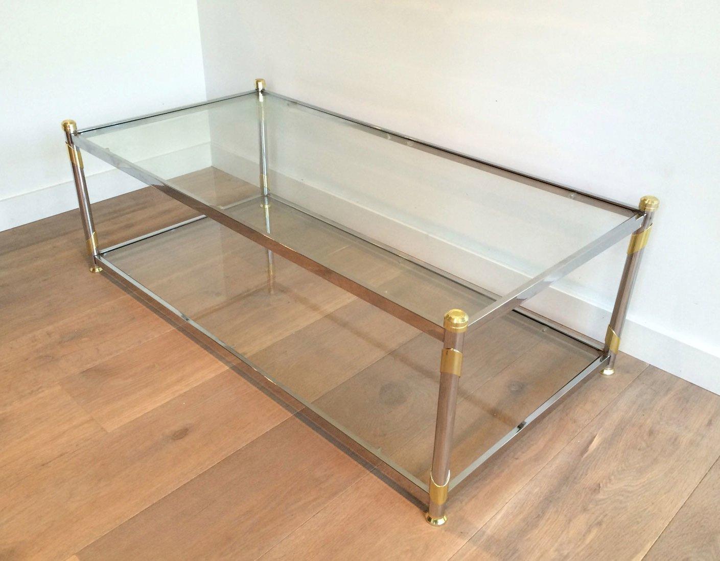 couchtisch aus chrom vergoldetem metall 1970er bei. Black Bedroom Furniture Sets. Home Design Ideas