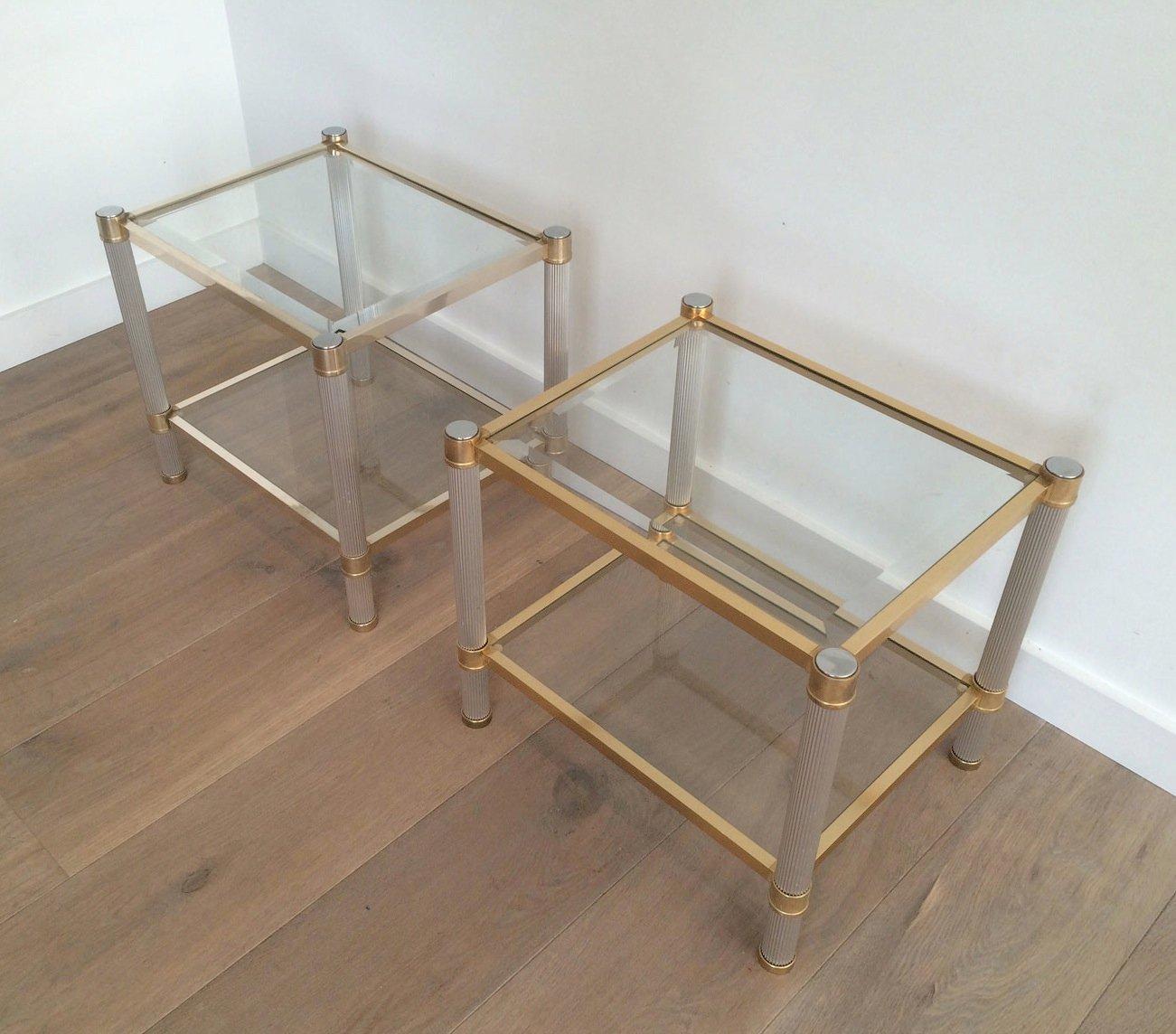messing glas beistelltische von pierre vandel 2er set. Black Bedroom Furniture Sets. Home Design Ideas