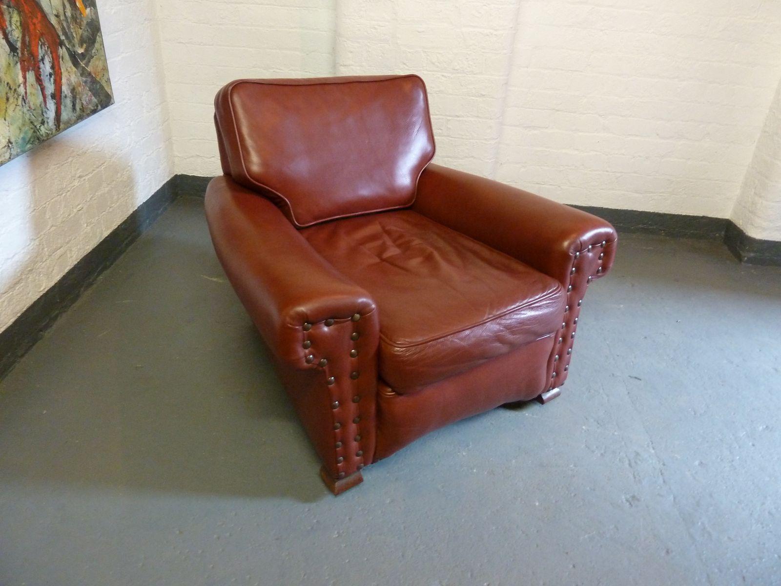 ochsenblutfarbener leder clubsessel 1930er bei pamono kaufen. Black Bedroom Furniture Sets. Home Design Ideas