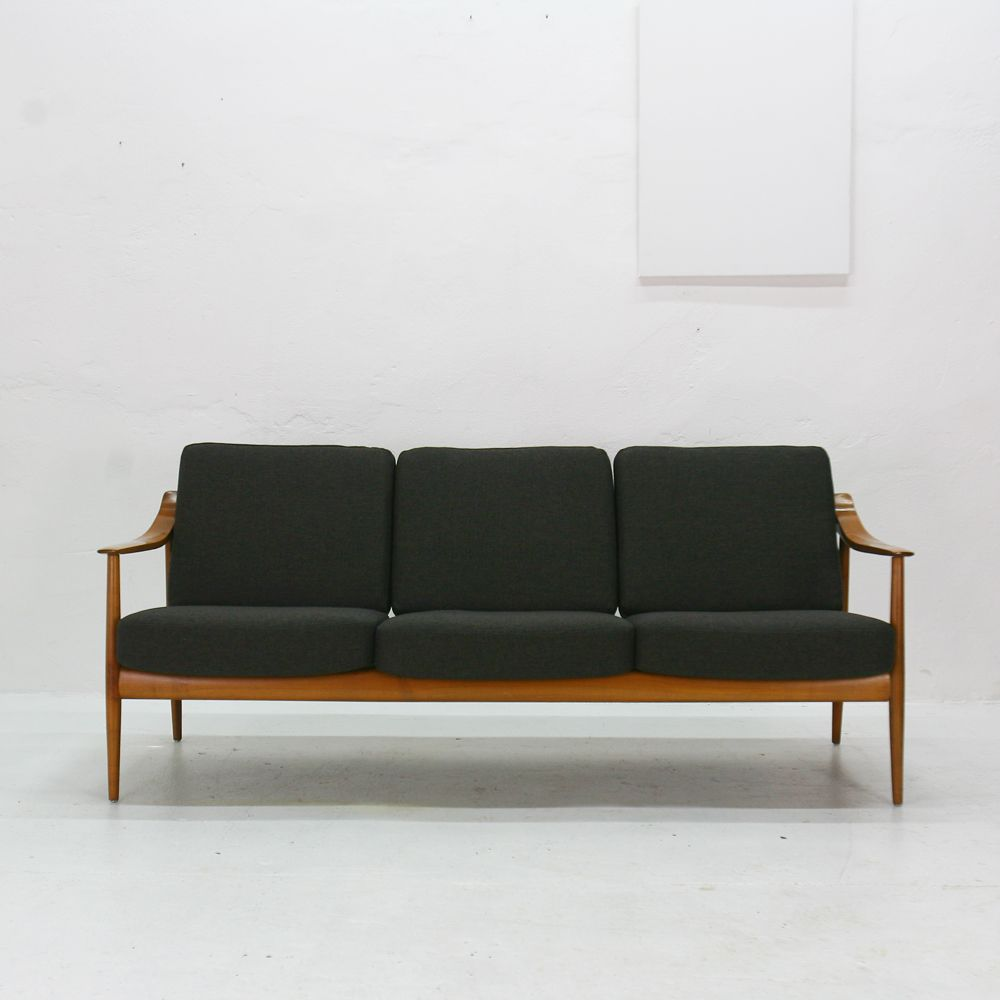 vintage cherrywood 3 seater sofa by walter knoll for knoll. Black Bedroom Furniture Sets. Home Design Ideas
