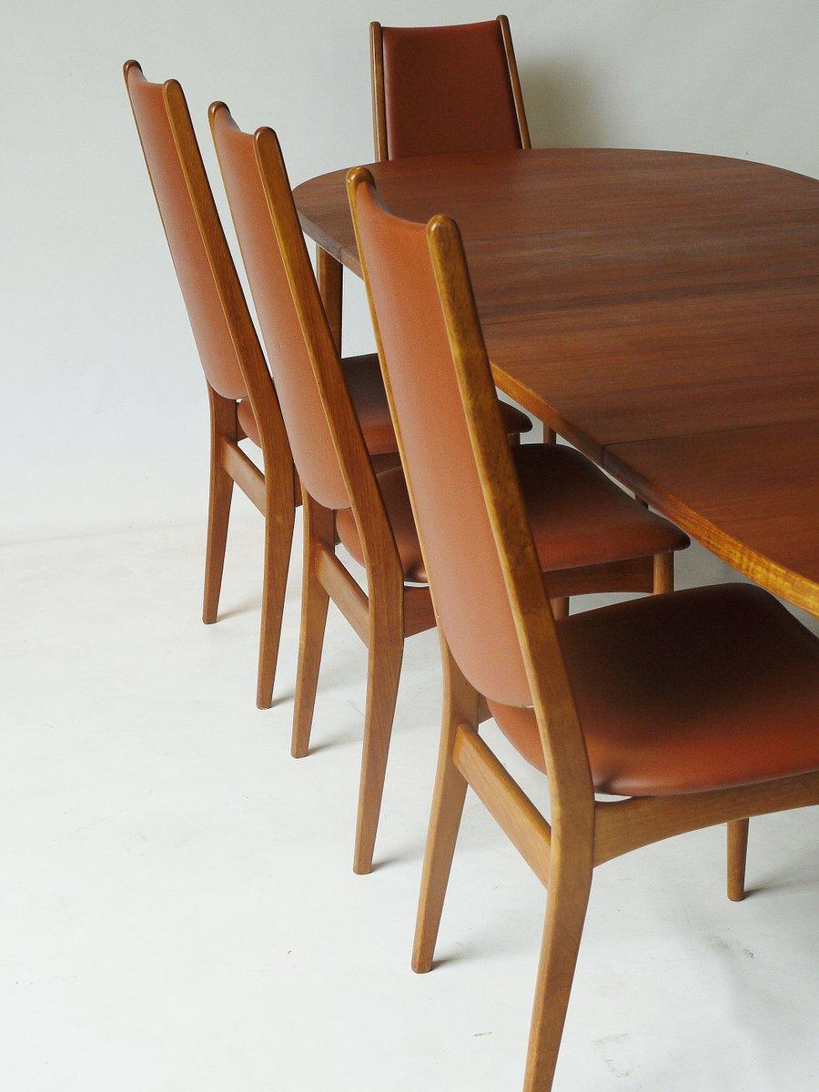 Table de salle manger rallonge huit chaises en teck for Salle a manger annee 1960