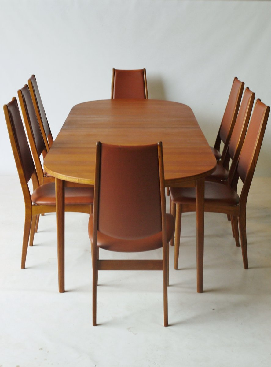 Danish Teak Dining Set With Extending Dining Table 8 Chairs 1960s For