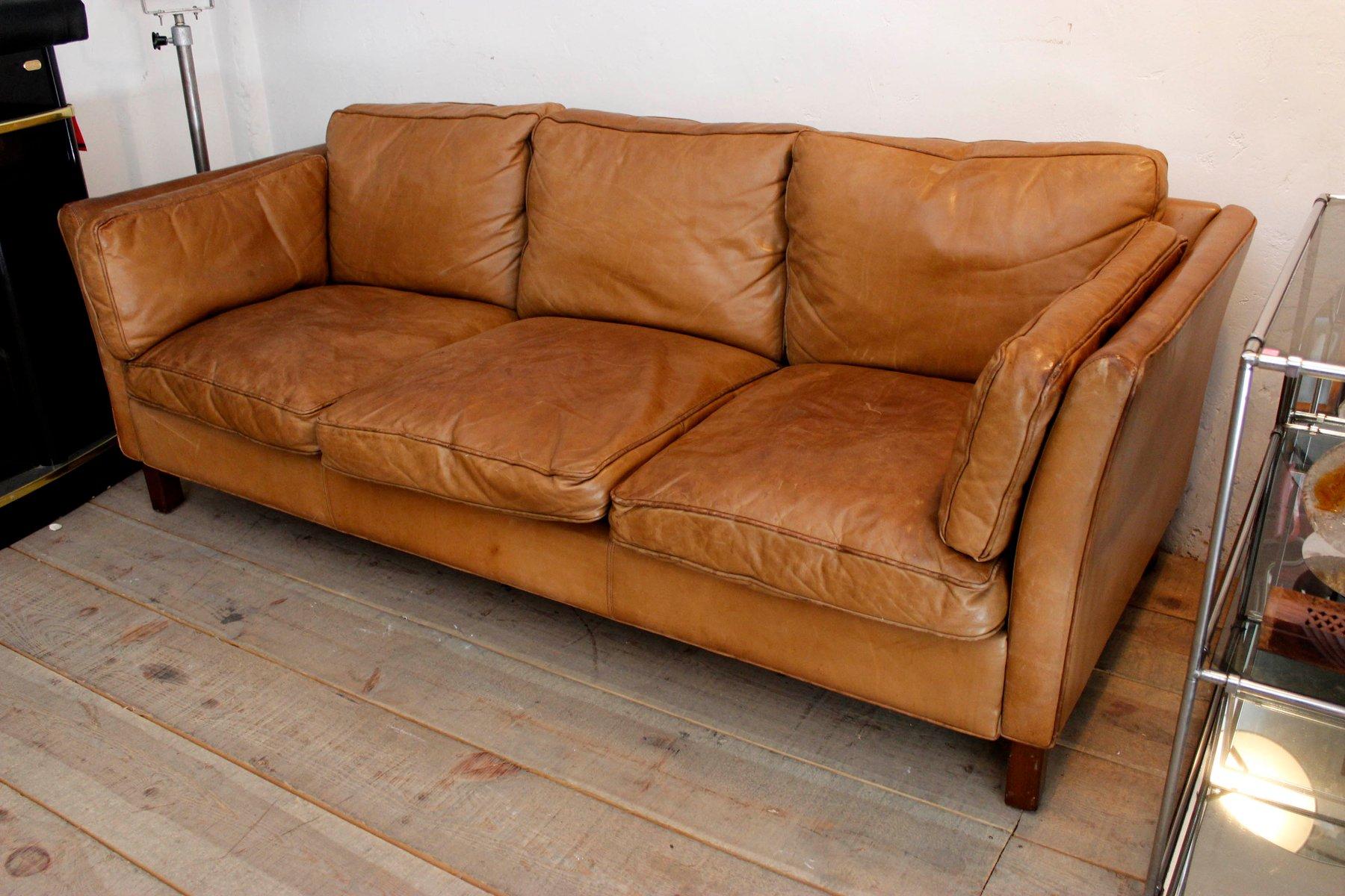 3 sitzer ledersofa von b rge mogensen f r fredericia 1963. Black Bedroom Furniture Sets. Home Design Ideas