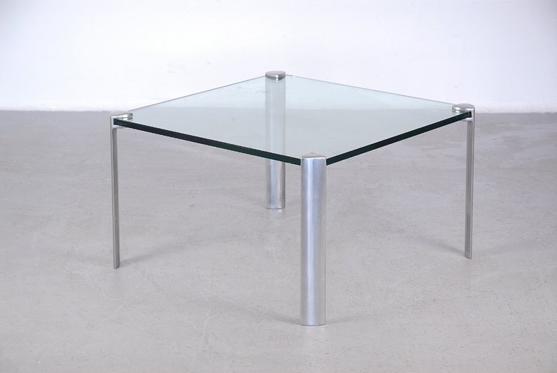 minimalistischer glas aluminium couchtisch bei pamono kaufen. Black Bedroom Furniture Sets. Home Design Ideas