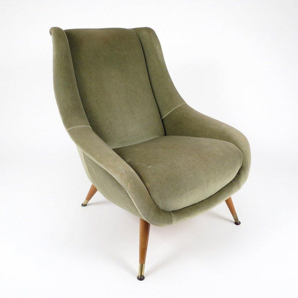 italian velvet lounge chair for sale at pamono. Black Bedroom Furniture Sets. Home Design Ideas