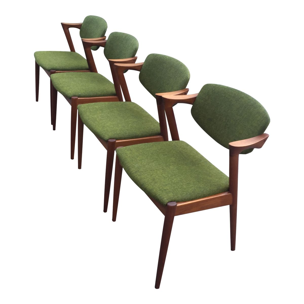 Model 42 teak dining chairs by kai kristiansen for schou andesen m belfabrik set of 4 for sale - Kai kristiansen chairs ...