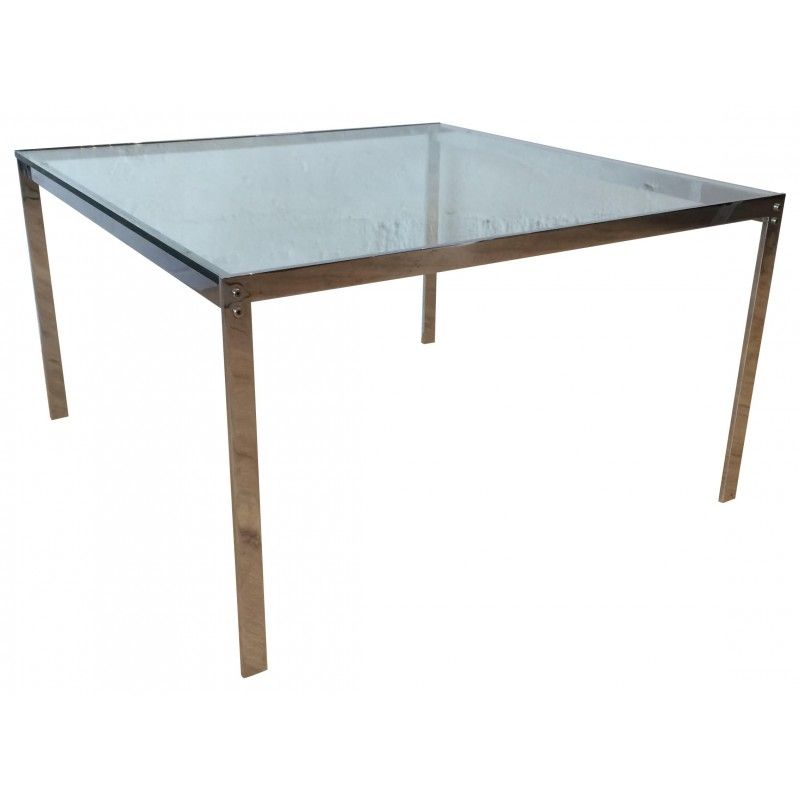 Vintage Glass And Chrome Plated Metal Coffee Table