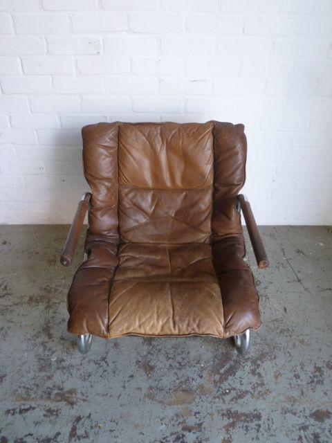 vintage rohrstahl leder sessel bei pamono kaufen. Black Bedroom Furniture Sets. Home Design Ideas