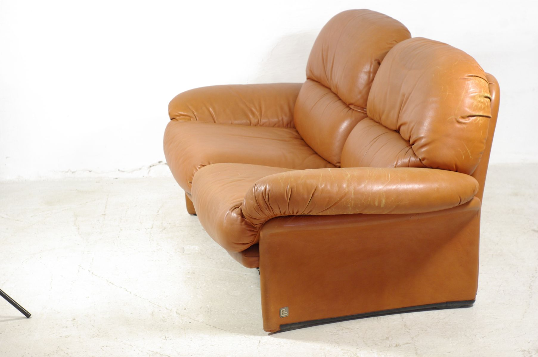 italian vintage leather 2 seater sofa from busnelli for sale